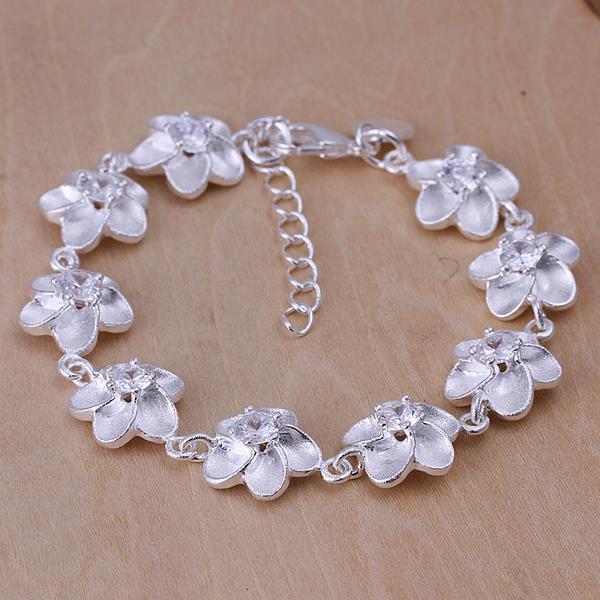Vienna Jewelry Sterling Silver Multi Ivory Floral Bracelet