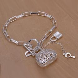 Vienna Jewelry Sterling Silver Laser Cut Heart & Charms Bracelet - Thumbnail 0