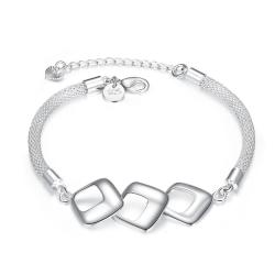 Vienna Jewelry Sterling Silver Trio-Hollow Square Connecting Bracelet - Thumbnail 0