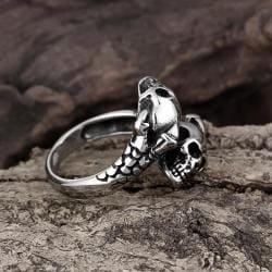Vienna Jewelry Open Ended Abstract Skulls Stainless Steel Ring - Thumbnail 0