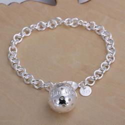 Vienna Jewelry Sterling Silver Large Pav'e Ball Center Bracelet - Thumbnail 0