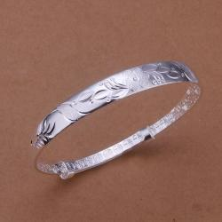 Sterling Silver Orchid Inprint Open Bangle - Thumbnail 0