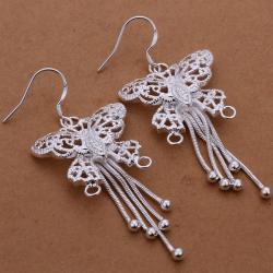 Vienna Jewelry Sterling Silver Drop Butterfly Earring - Thumbnail 0