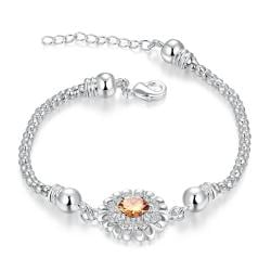 Vienna Jewelry Sterling Silver Orange Citrine Circular Emblem Bracelet - Thumbnail 0