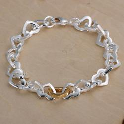 Vienna Jewelry Sterling Silver Petite Curved Heart Shaped Bracelet - Thumbnail 0