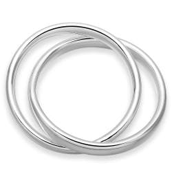 Sterling Silver Duo Classic Modern Bangle - Thumbnail 0