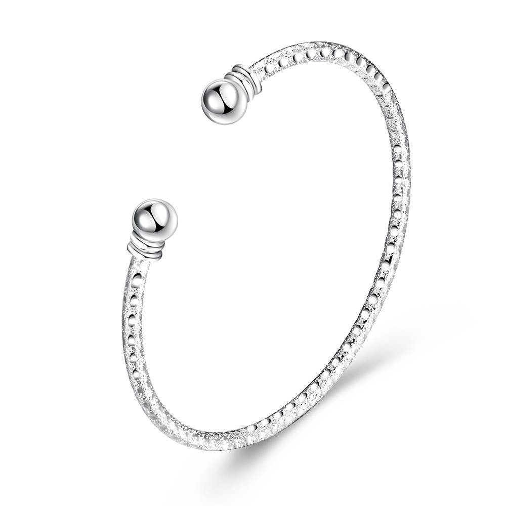 Vienna Jewelry Sterling Silver Horizontal Laser Cut Classic Bangle