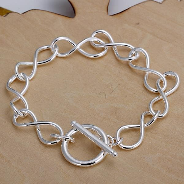 Vienna Jewelry Sterling Silver Curved Loop Clasp Closure Bracelet