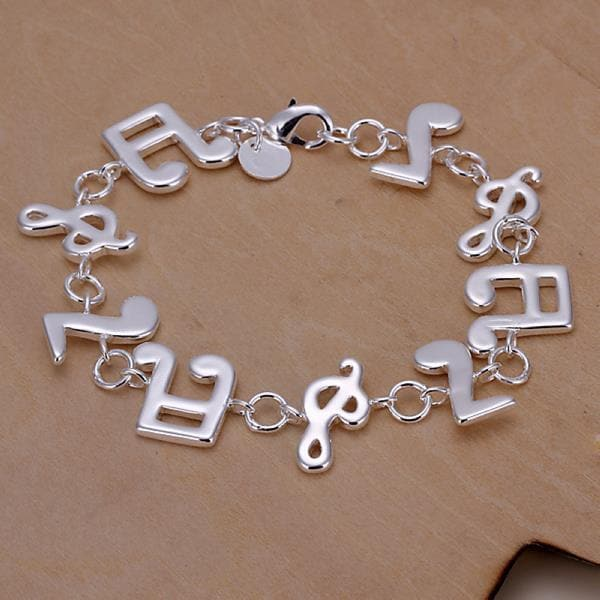 Vienna Jewelry Sterling Silver Musical Notes Bracelet