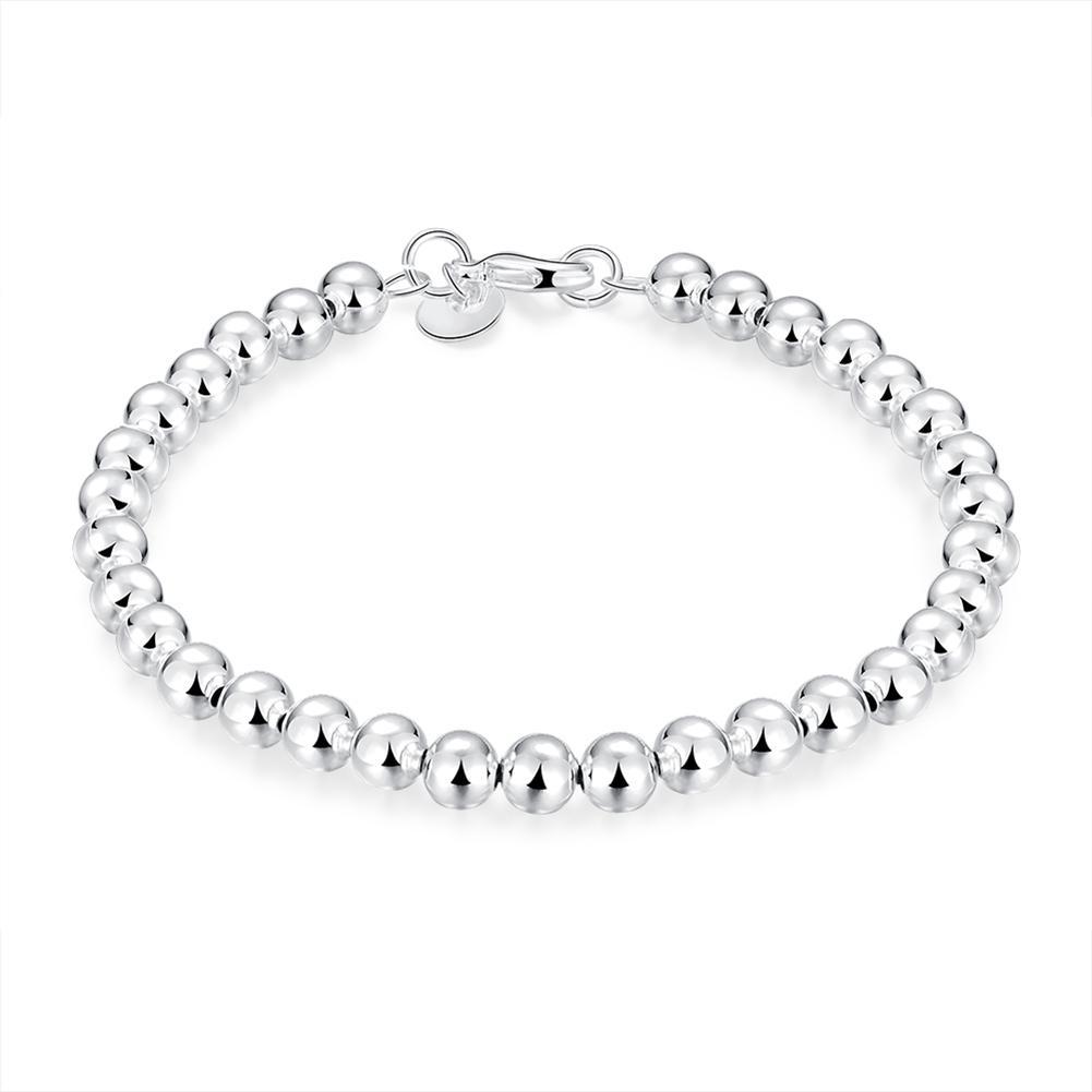 Vienna Jewelry Sterling Silver Multi-Bead Sleek Bracelet