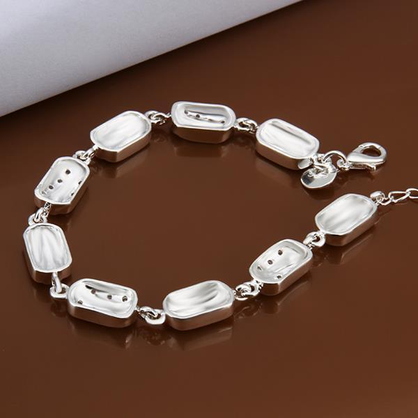 Vienna Jewelry Sterling Silver Rectangle Shaped Connected Bracelet