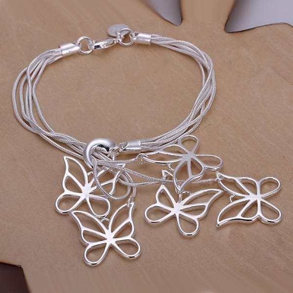 Vienna Jewelry Sterling Silver Dangling Hollow Butterfly Bracelet