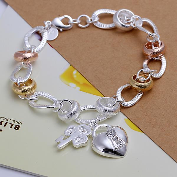 Vienna Jewelry Sterling Silver Multi-Colored Heart & Charm Emblem Bracelet
