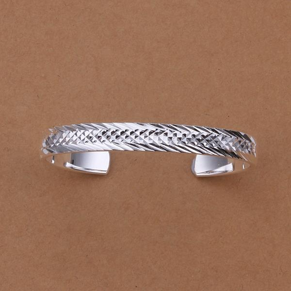 Sterling Silver Animal Skin Ingrain Open Bangle