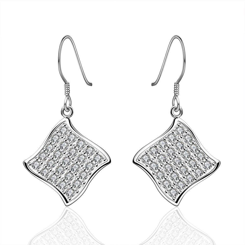 Vienna Jewelry Sterling Silver Crystal Rhomus Shaped Drop Earring