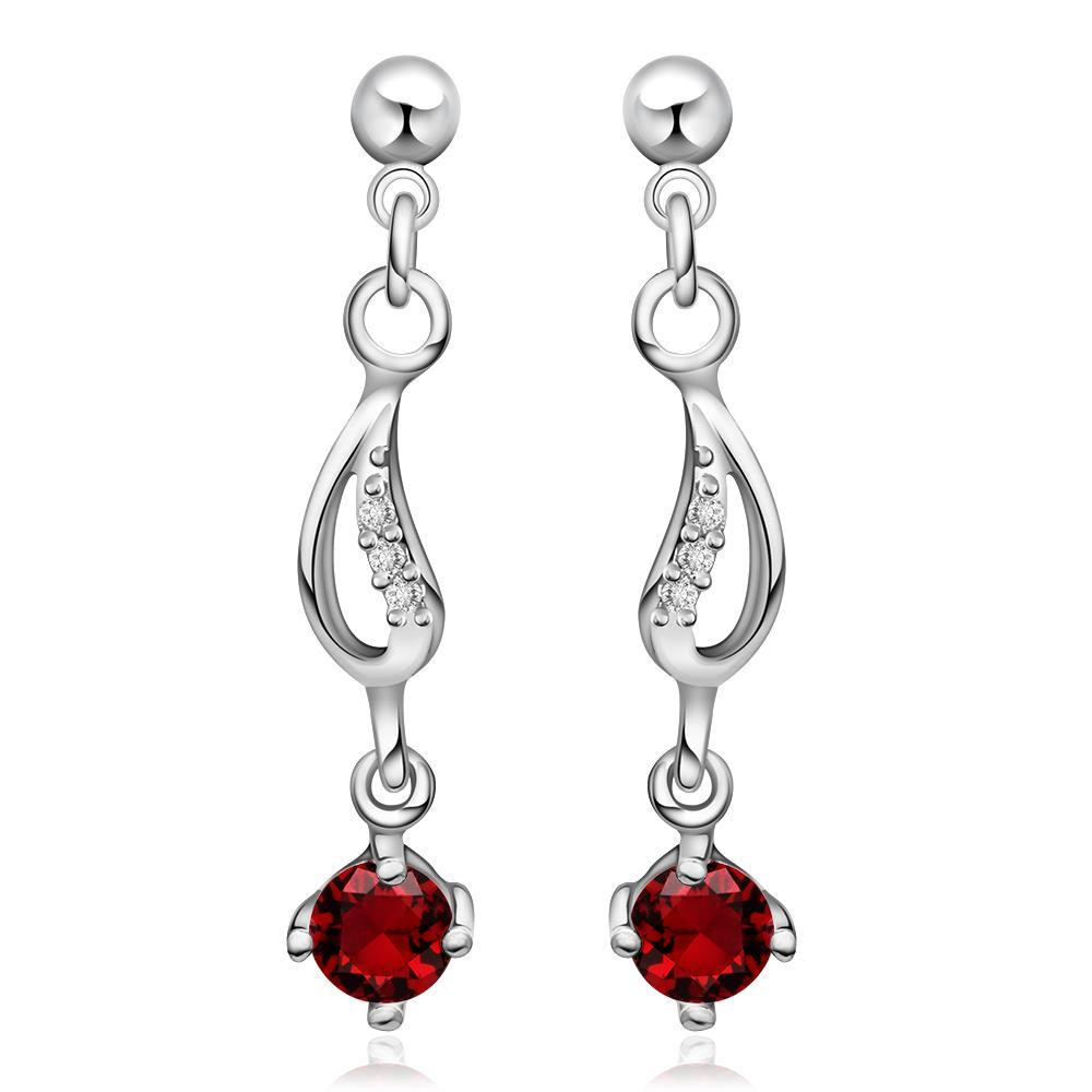 Vienna Jewelry Sterling Silver Ruby Gem Drop Drop Earring