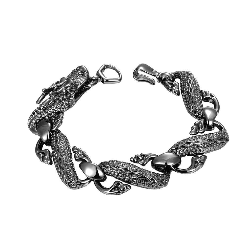Vienna Jewelry Sterling Silver Onyx Coloring Intertwined Bracelet