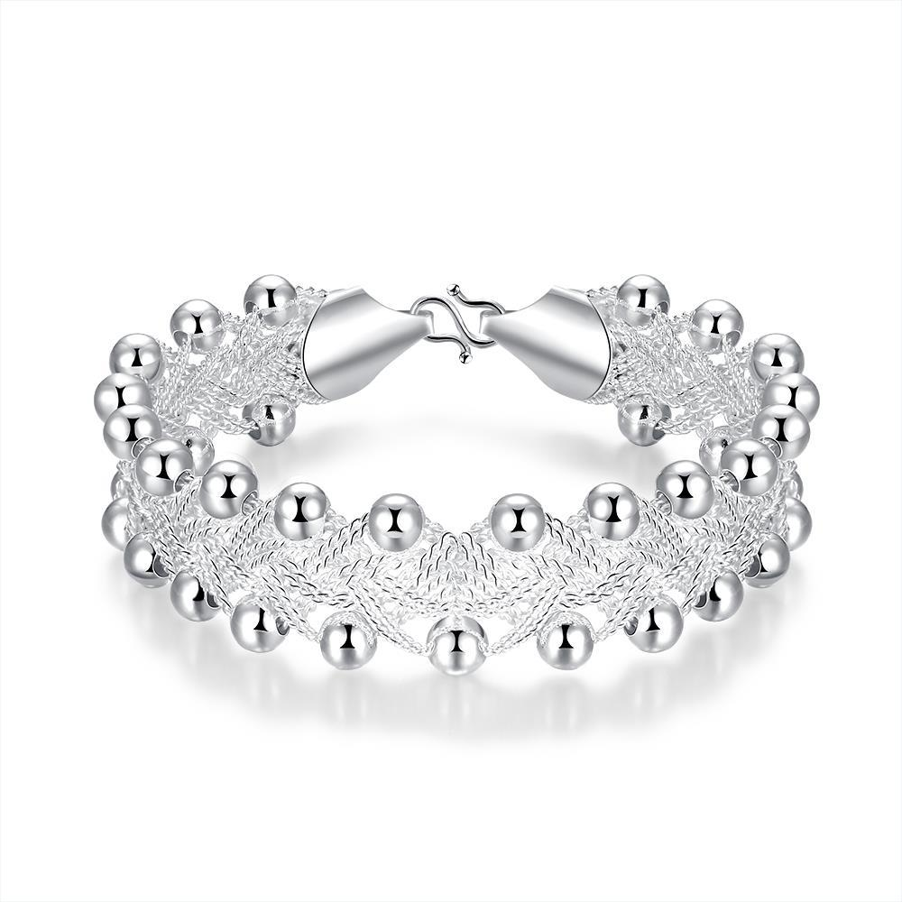 Vienna Jewelry Sterling Silver Pearl Covering Crown Bracelet