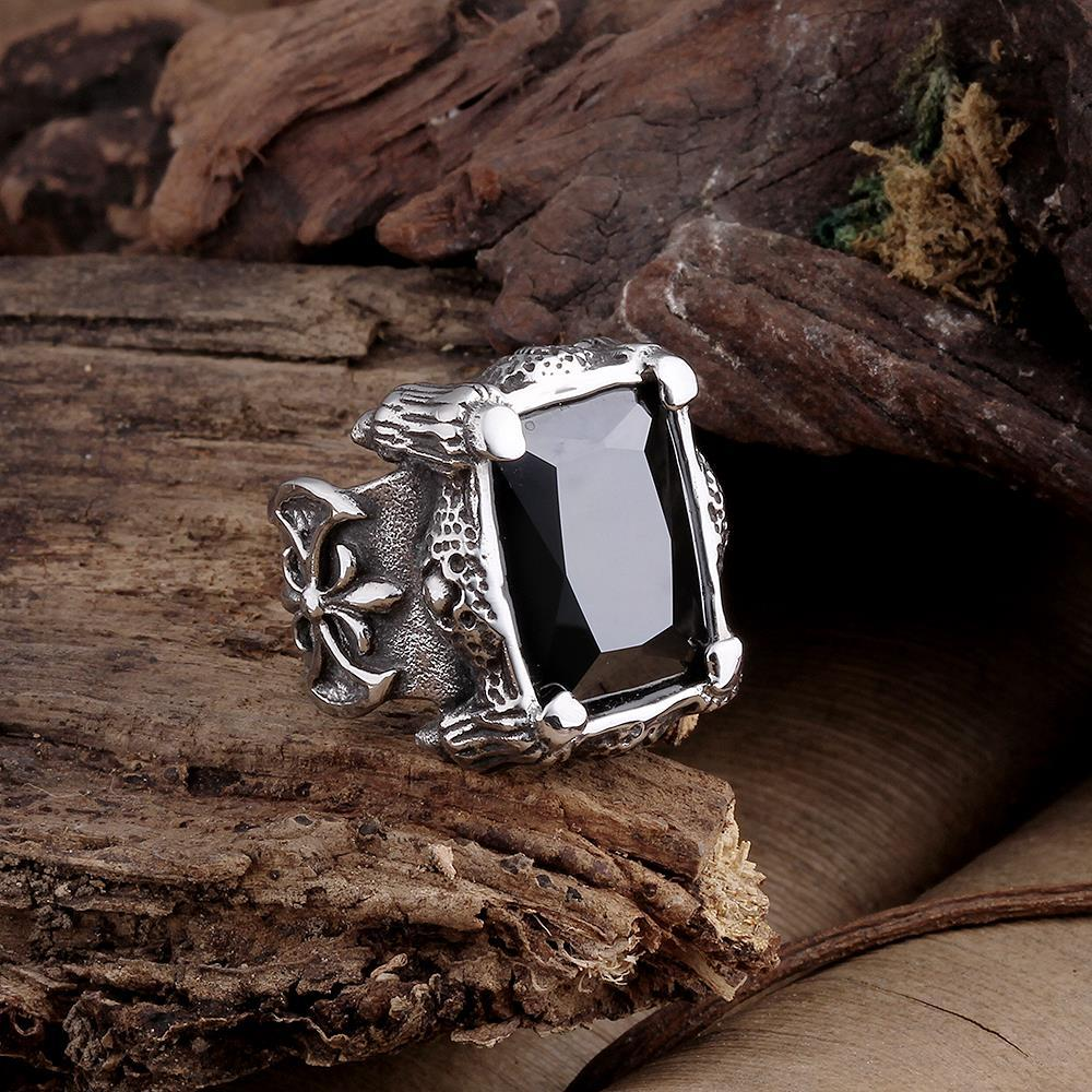 Vienna Jewelry Black Diamond Cut Stainless Steel Ring