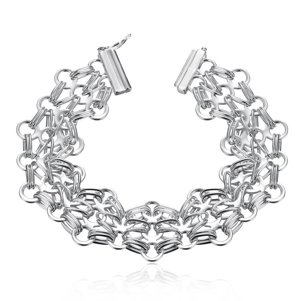 Vienna Jewelry Sterling Silver Multi Floral Intertwined Bracelet