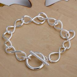 Vienna Jewelry Sterling Silver Curved Loop Clasp Closure Bracelet - Thumbnail 0