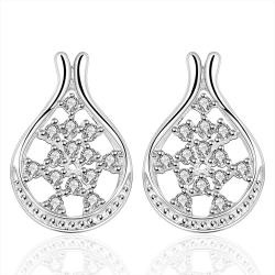 Vienna Jewelry Sterling Silver Curved Hoop Crystal Stone Earring - Thumbnail 0