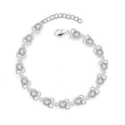 Vienna Jewelry Sterling Silver Multi-Petite Floral Bracelet - Thumbnail 0