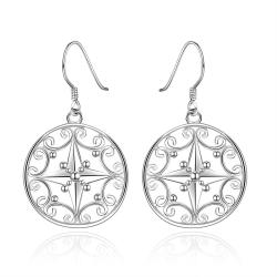 Vienna Jewelry Sterling Silver Laser Cut Roman Symbol Ingrained Drop Earring - Thumbnail 0