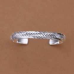 Sterling Silver Animal Skin Ingrain Open Bangle - Thumbnail 0