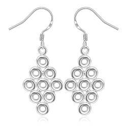 Vienna Jewelry Sterling Silver Circular Orchid Drop Earring - Thumbnail 0