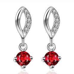 Vienna Jewelry Sterling Silver Ruby Gem Stone Drop Drop Earring - Thumbnail 0