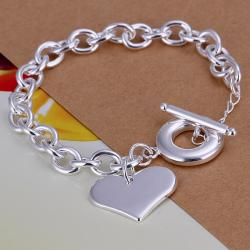 Vienna Jewelry Sterling Silver Petite Heart Shaped Clasp Closure Bracelet - Thumbnail 0