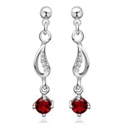 Vienna Jewelry Sterling Silver Ruby Gem Drop Drop Earring - Thumbnail 0