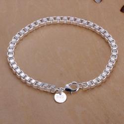 Vienna Jewelry Sterling Silver Petite Square Charm Bracelet - Thumbnail 0