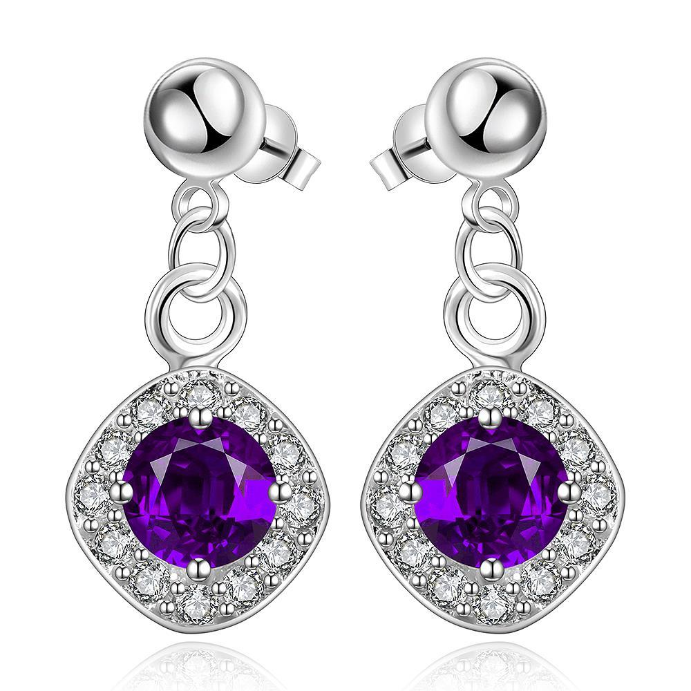 Vienna Jewelry Sterling Silver Purple Citrine Classical Drop Earring