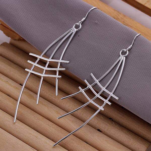 Vienna Jewelry Sterling Silver Linear Drop Earring