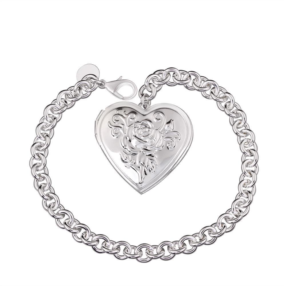 Vienna Jewelry Sterling Silver Ingrain Heart Emblem Bracelet