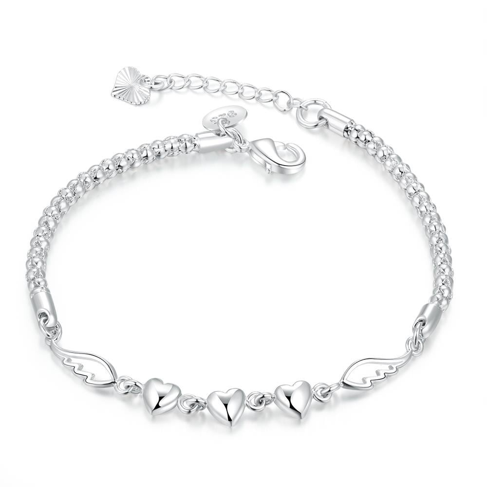 Vienna Jewelry Sterling Silver Trio Heart Pendant Chain Bracelet