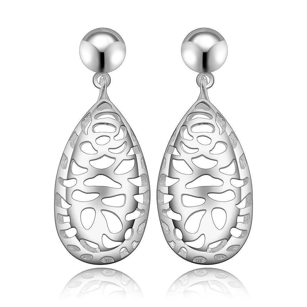 Vienna Jewelry Sterling Silver Laser Cut Filligree Drop Earring