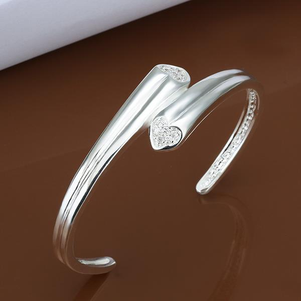 Vienna Jewelry Sterling Silver Open Clasp Duo-Curved Lined Bangle