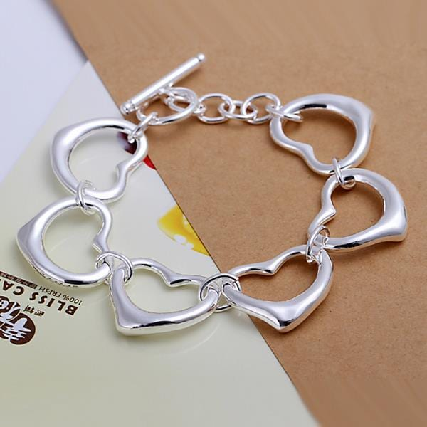 Vienna Jewelry Sterling Silver Surronding Hollow Hearts Bracelet