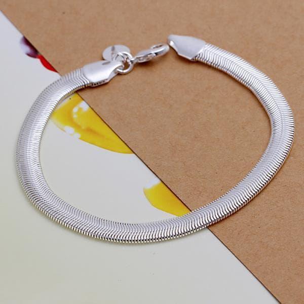 Vienna Jewelry Sterling Silver Snake Design Sleek Bracelet