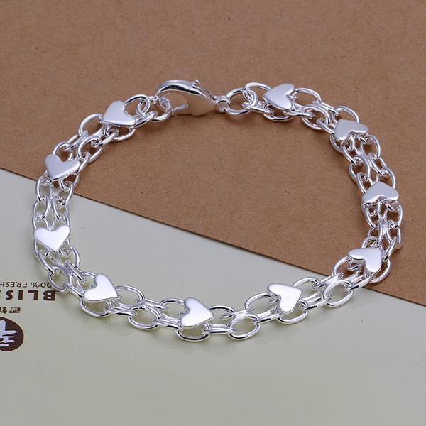 Vienna Jewelry Sterling Silver Heart Infused Linked Chain Bracelet
