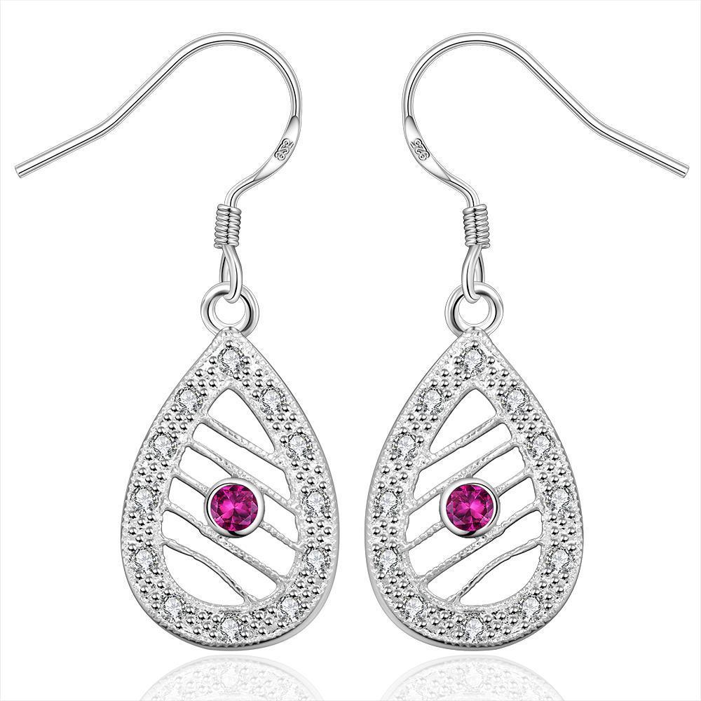 Vienna Jewelry Sterling Silver Drop Laser Cut Tear Drop Drop Earring