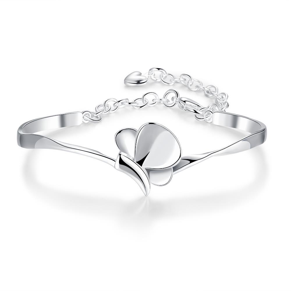 Vienna Jewelry Sterling Silver Curved Clover Emblem Bangle