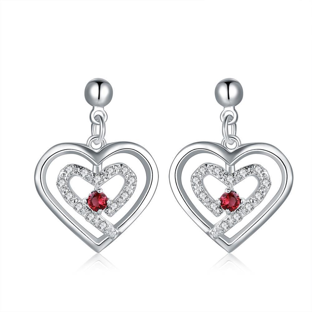 Vienna Jewelry Sterling Silver Stones & Ruby Heart Earring