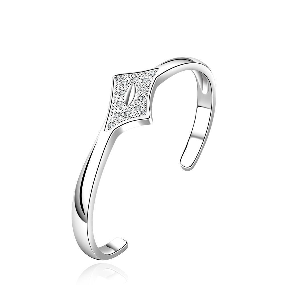 Vienna Jewelry Sterling Silver Crystal Diamond Shaped Open Bangle