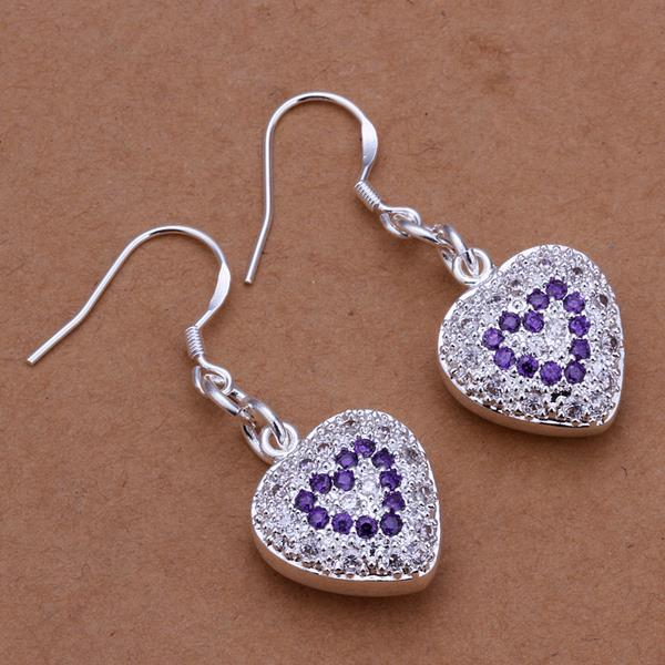 Vienna Jewelry Sterling Silver Heart Shaped Drop Earring with Sapphire Insert