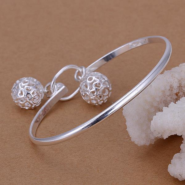 Vienna Jewelry Sterling Silver Duo-Laser Cut Ball Bangle