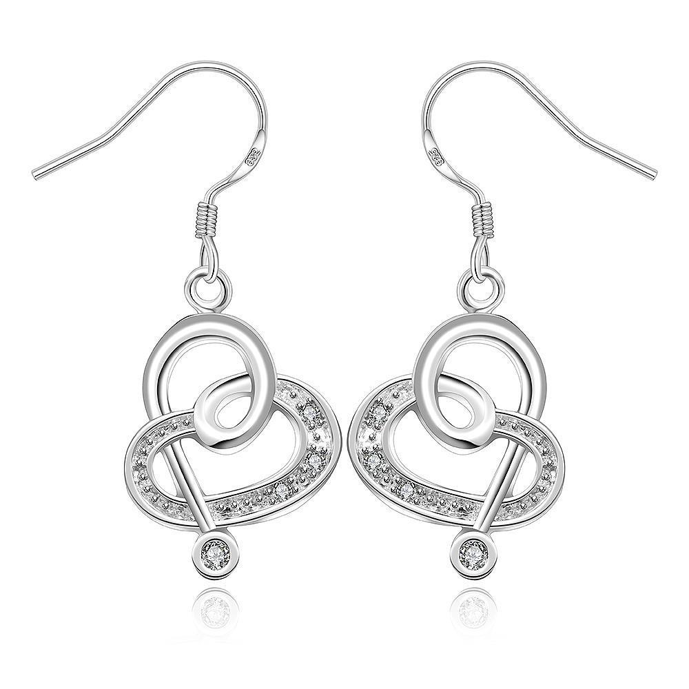 Vienna Jewelry Sterling Silver Curved Hearts Drop Earring